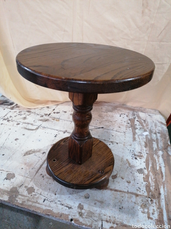VELADOR DE MADERA DE ROBLE (Antigüedades - Muebles Antiguos - Veladores Antiguos)