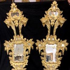 Antiquités: EXCELENTE PAREJA DE CORNUCOPIAS DE MADERA EN PAN DE ORO. Lote 184680611