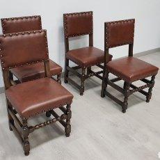 Antigüedades: SILLAS RUSTICAS DE ROBLE Y PIEL. Lote 184690482