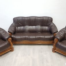 Antigüedades: SOFAS DE PIEL Y ROBLE. Lote 184690997