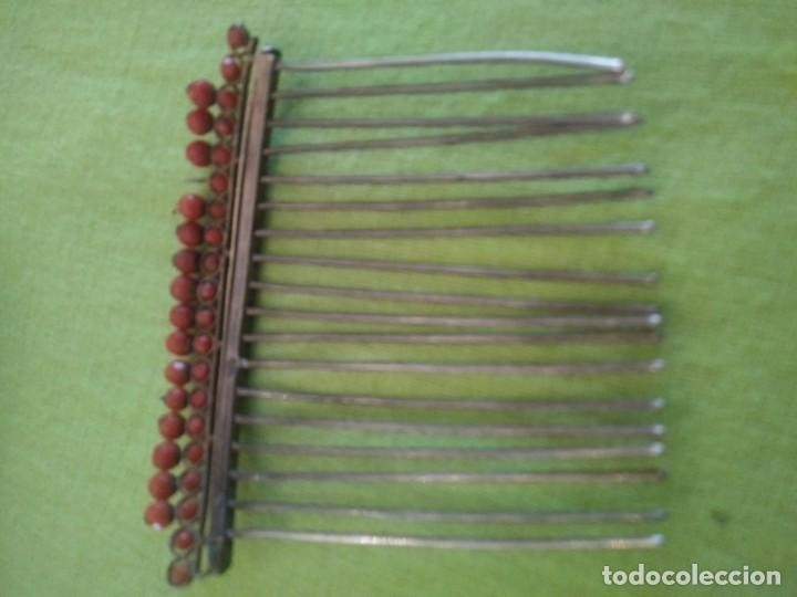 Antigüedades: ANTIGUA PEINETA CORAL Y PLATA - Foto 5 - 184694033