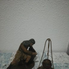 Antigüedades: ANTIGUA FIGURA DE PASTOR DE ORTIGAS BELÉN PESEBRE NACIMIENTO HUEVO FRITO CACHARRERIA . Lote 184717640