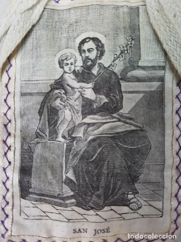 Antigüedades: ANTIGUO ESCAPULARIO SAN JOSÉ - Foto 2 - 184721121