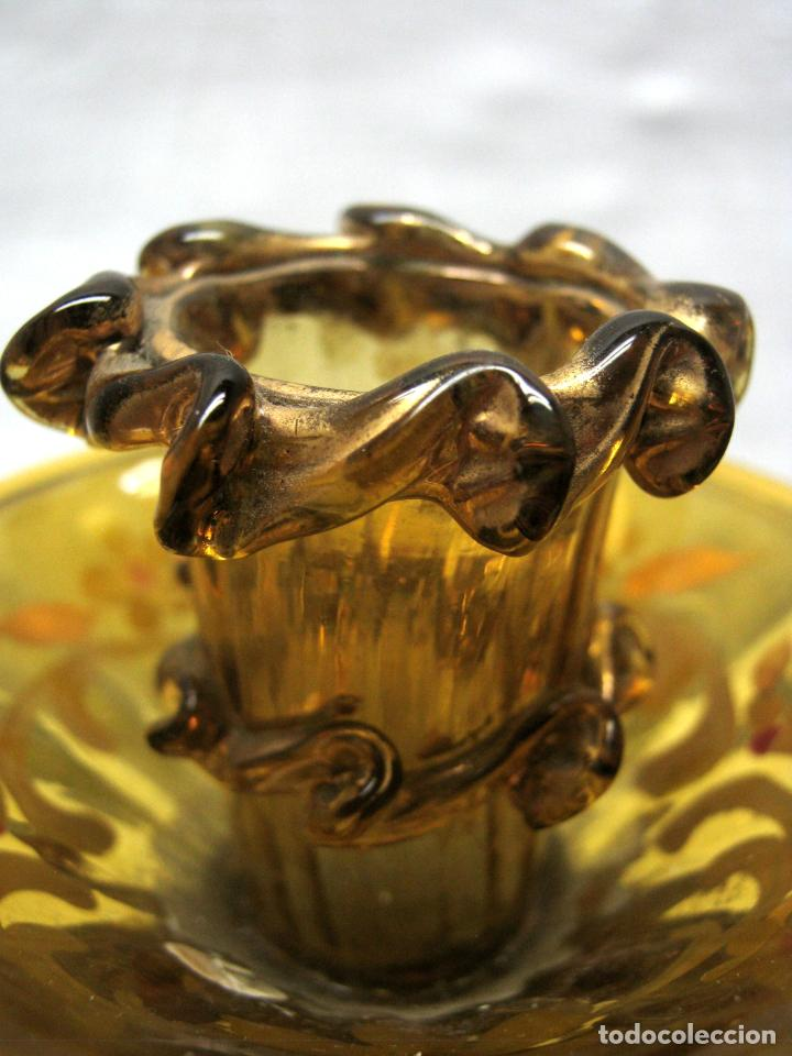 Antigüedades: Antiguo CANDELABRO 3 LUCES - Cristal Ámbar Pintado y Dorado s. XIX Catalán - Foto 6 - 184734433