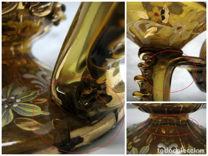 Antigüedades: Antiguo CANDELABRO 3 LUCES - Cristal Ámbar Pintado y Dorado s. XIX Catalán - Foto 8 - 184734433