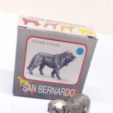 Antigüedades: FIGURA DE METAL BAÑADO PLATA SAN BERNARDO. Lote 184770351
