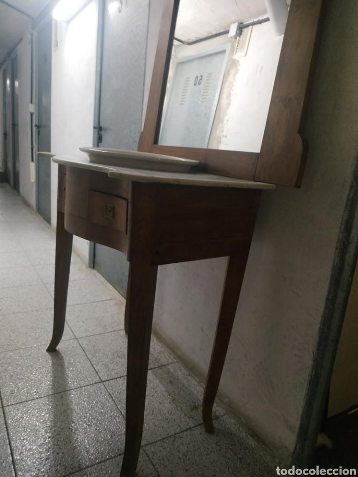 Antigüedades: Mueble lavabo con mármol, espejo y cajones - Foto 2 - 184857292