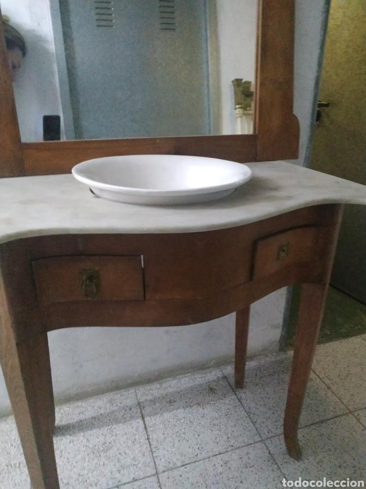 Antigüedades: Mueble lavabo con mármol, espejo y cajones - Foto 3 - 184857292