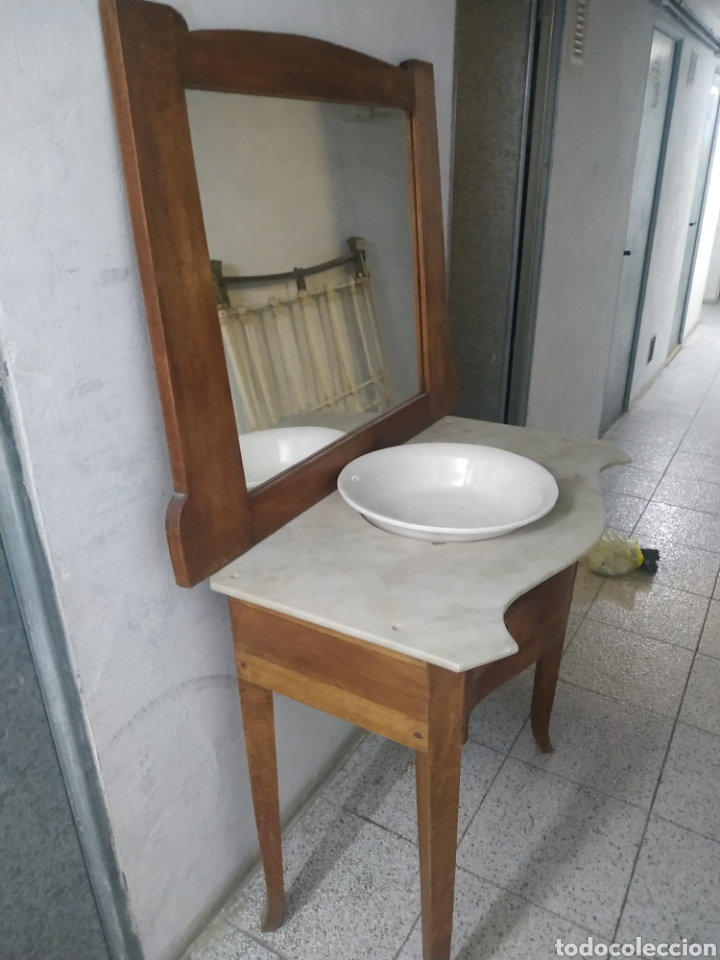 Antigüedades: Mueble lavabo con mármol, espejo y cajones - Foto 4 - 184857292
