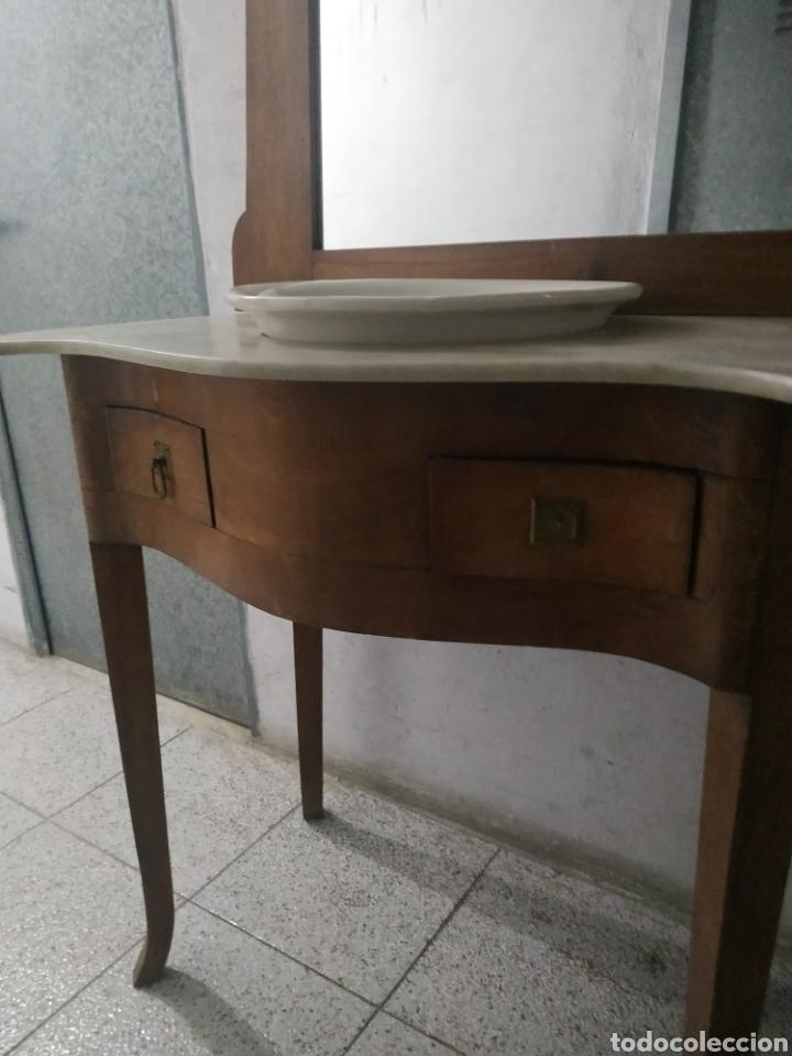 MUEBLE LAVABO CON MÁRMOL, ESPEJO Y CAJONES (Antigüedades - Muebles Antiguos - Auxiliares Antiguos)