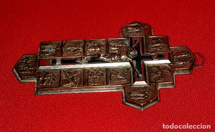 CRUZ CON VIA CRUCIS (Antigüedades - Religiosas - Cruces Antiguas)