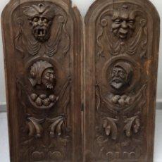 Antiquités: LOTE DE 2 ANTIGUOS Y GRANDES PANELES DE PUERTAS O MUEBLES CASTELLANOS.VER FOTOS.. Lote 184899846