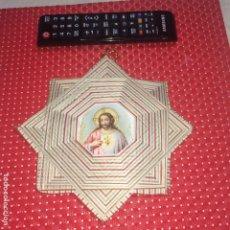 Antigüedades: SAGRADO CORAZON DE JESUS - DETENTE PARA COLGAR - CON 8 PICOS - TAMAÑO GRANDE. Lote 184902398