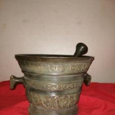 Antigüedades: IMPRESIONANTE MORTERO ALMIREZ DE BRONCE RARÍSIMO SIGLO XVIII GRAN TAMAÑO. Lote 184912163