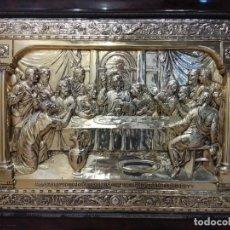 Antigüedades: ANTIGUO CUADRO ÚLTIMA CENA BAÑO DE PLATA PRECIOSO TRABAJO.. Lote 184924523