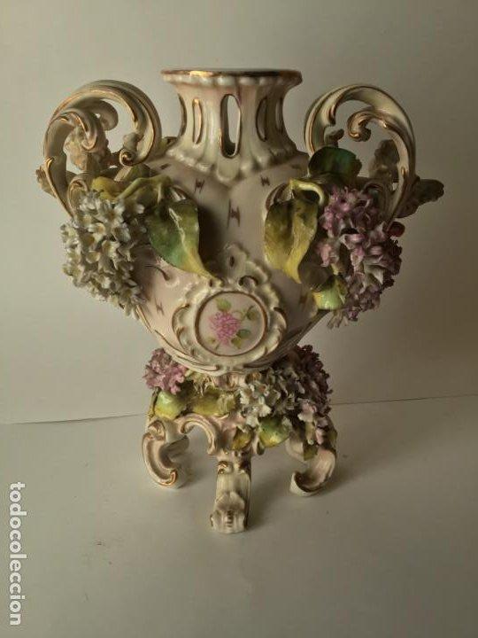 Antigüedades: ANTIGUO JARRON DE PORCELANA , CON 2 ANGELES Y FLORES DE JAZMIN , SIGLO XIX - Foto 13 - 185100991
