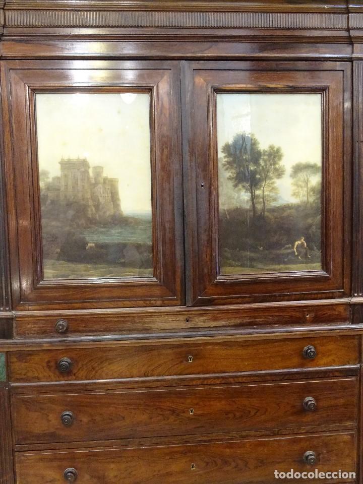 Antigüedades: Mueble inglés estilo Jorge III, S.XIX en madera de palosanto y roble en el interior - Foto 3 - 185701417