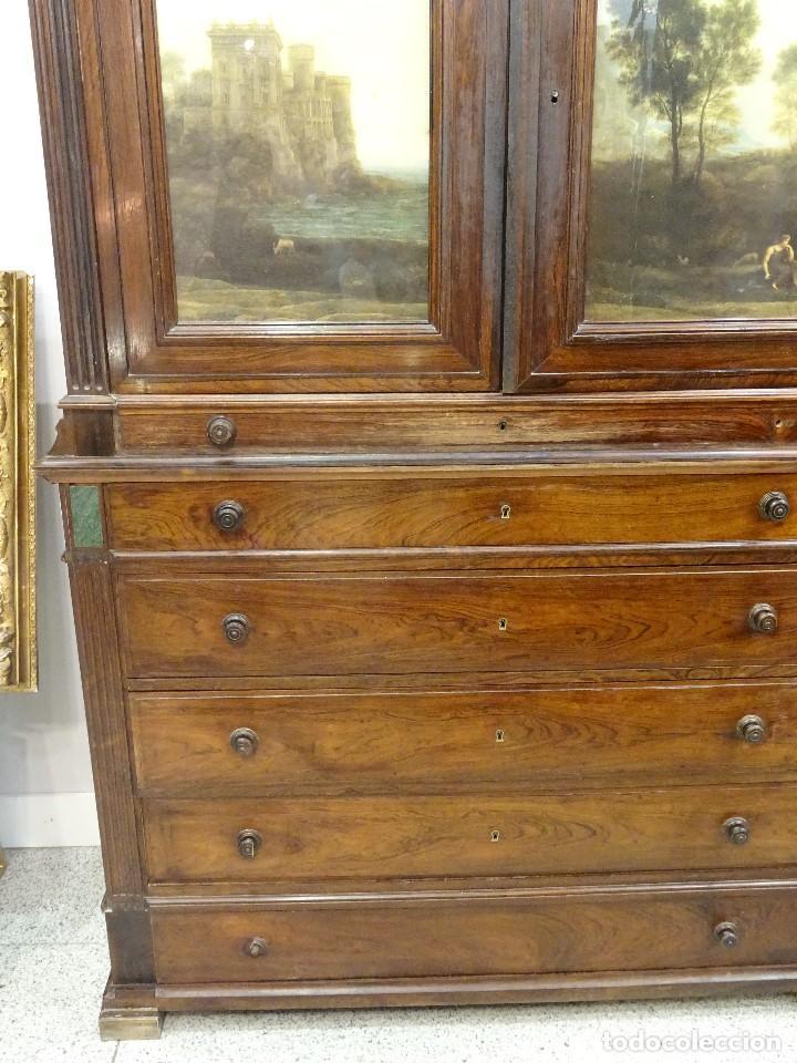 Antigüedades: Mueble inglés estilo Jorge III, S.XIX en madera de palosanto y roble en el interior - Foto 4 - 185701417