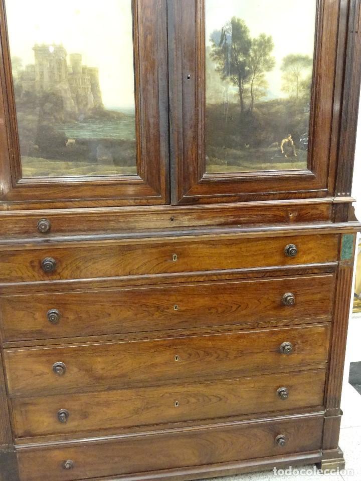 Antigüedades: Mueble inglés estilo Jorge III, S.XIX en madera de palosanto y roble en el interior - Foto 5 - 185701417
