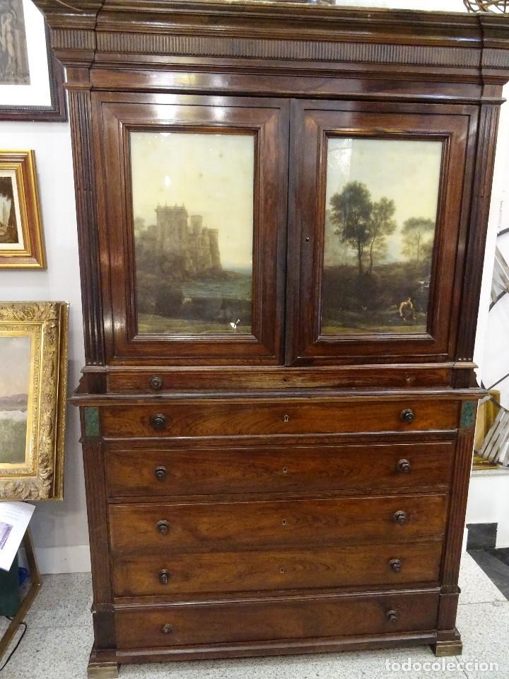 Antigüedades: Mueble inglés estilo Jorge III, S.XIX en madera de palosanto y roble en el interior - Foto 6 - 185701417