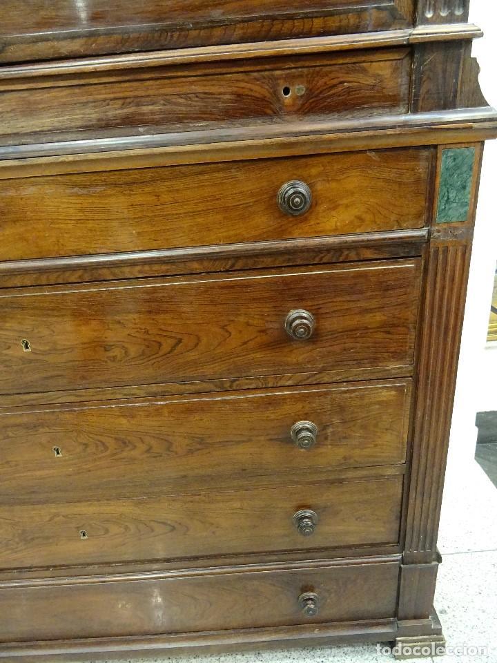 Antigüedades: Mueble inglés estilo Jorge III, S.XIX en madera de palosanto y roble en el interior - Foto 8 - 185701417