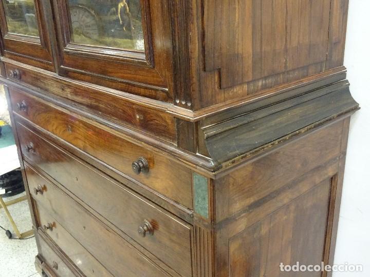 Antigüedades: Mueble inglés estilo Jorge III, S.XIX en madera de palosanto y roble en el interior - Foto 10 - 185701417
