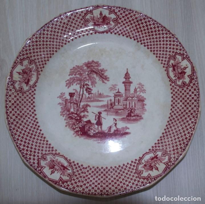 PLATO PORCELANA S.XIX - ADAMS & SONS (Antigüedades - Porcelanas y Cerámicas - Inglesa, Bristol y Otros)