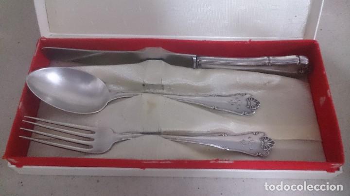 Antigüedades: Juego de cubiertos plata 925 primera comunión en caja - Foto 12 - 185766688