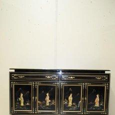 Antigüedades: ANTIGUO APARADOR CHINO - ORIENTAL LACADO EN COLOR NEGRO. Lote 185770543