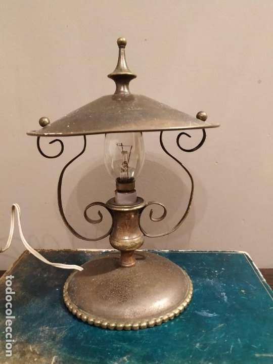 ANTIGUA LAMPARA SOBREMESA METAL DORADO (Antigüedades - Iluminación - Lámparas Antiguas)