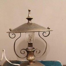 Antigüedades: ANTIGUA LAMPARA SOBREMESA METAL DORADO. Lote 185777465