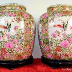 Antigüedades: PAREJA DE JARRONES CHINOS. PORCELANA ESMALTADA. CHINA. SIGLO XX. Lote 185791265