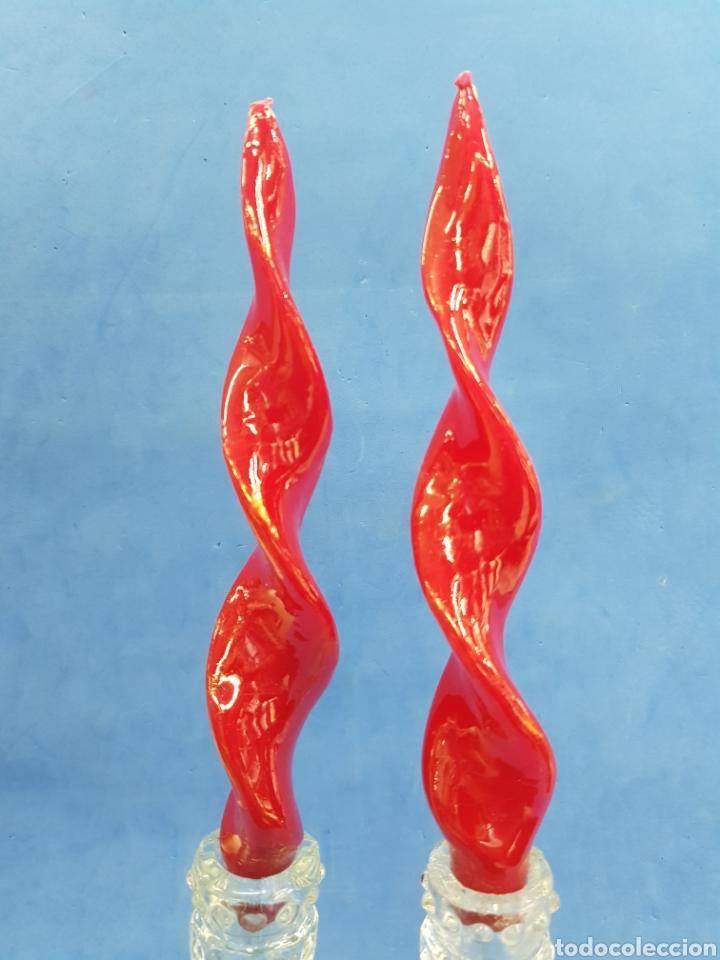Antigüedades: Lote 2 candelabros tallados años 1950-60 - Foto 4 - 185874821