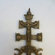 Antigüedades: ANTIGUA CRUZ DE CARAVACA EN BRONCE DE 12CM. Lote 185918008