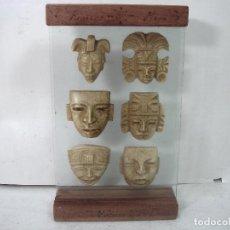 Antigüedades: CURIOSO RECUERDO MEXICO 2005- 6 MASCARAS AZTECAS MAYAS TOTONACA OLMECA-RIVIERA MAYA -CRISTAL MADERA . Lote 185923700
