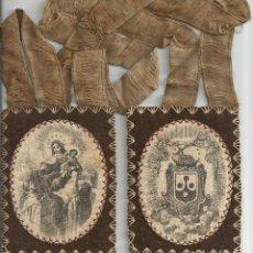 Antigüedades: GRAN ESCAPULARIO ANTIGUO VIRGEN DEL CARMEN Y STA. TERESA.. 11,5 X 9 CM. Lote 185929456