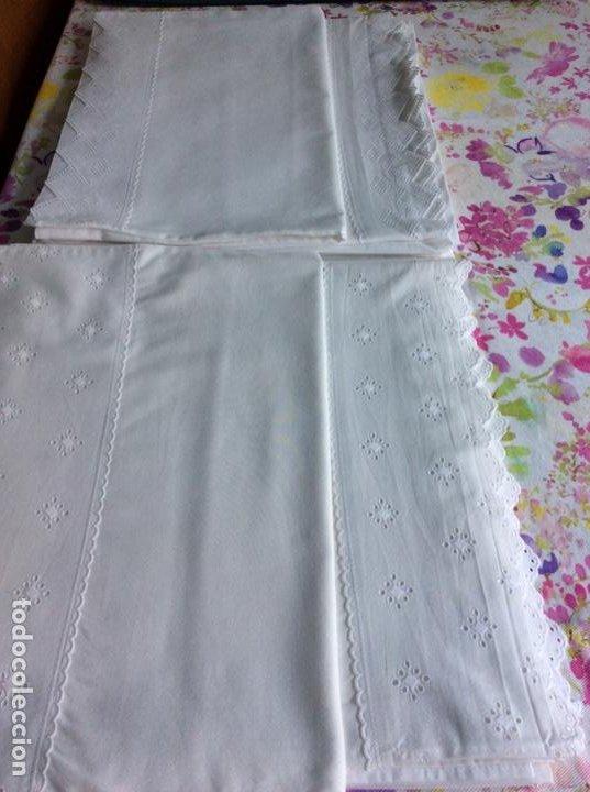 Antigüedades: 2 juegos de sábanas con tira bordada años 70. Impecables - Foto 5 - 185930241