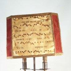 Antigüedades: LÁMPARA. HACHERO DE IGLESIA. HIERRO FORJADO. PANTALLA DE PIEL. ESPAÑA. SIGLO XIX-XX. . Lote 185949351