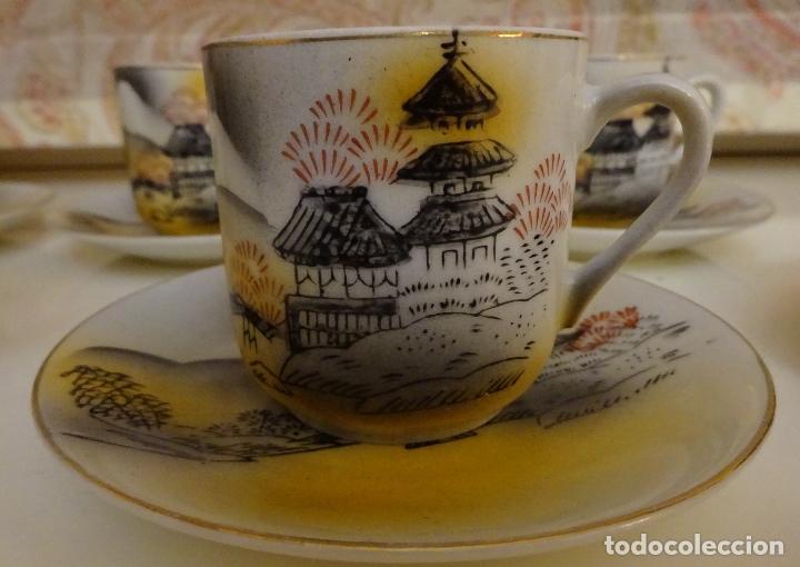 Antigüedades: PORCELANA JUEGO DE CAFÉ / TE CON CAFETERA, LECHERA Y 5 SERVICIOS. TRANSPARENCIA GEISHA - Foto 2 - 185995463
