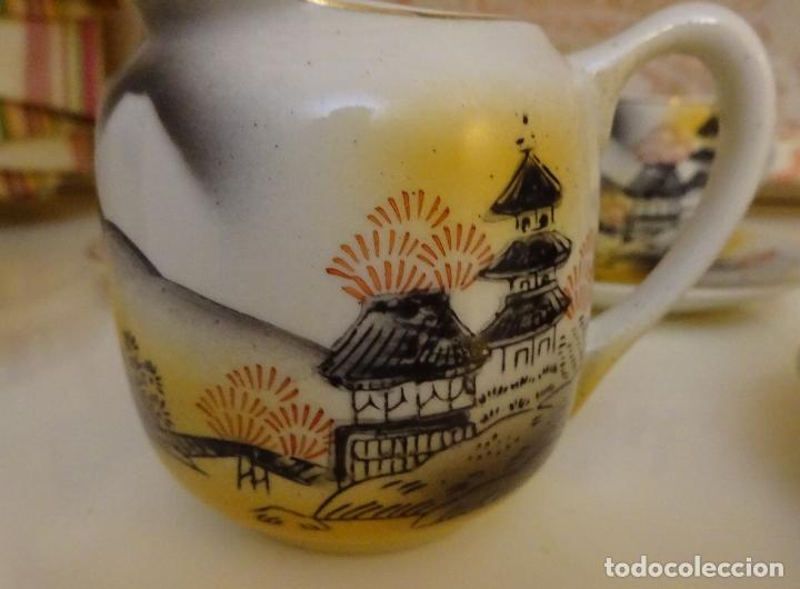 Antigüedades: PORCELANA JUEGO DE CAFÉ / TE CON CAFETERA, LECHERA Y 5 SERVICIOS. TRANSPARENCIA GEISHA - Foto 3 - 185995463