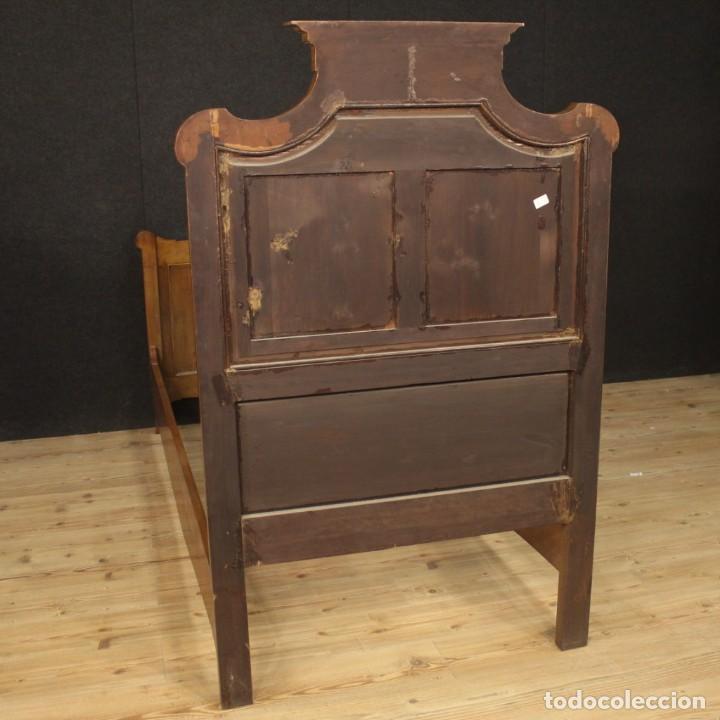 Antigüedades: Cama individual italiana en estilo Luis XV en madera con incrustaciones - Foto 11 - 186048207