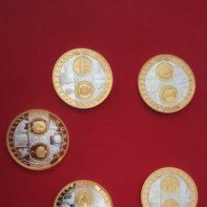 Antigüedades: LOTE 5 MEDALLAS CONMEMORATIVAS DEL EURO. Lote 186048296