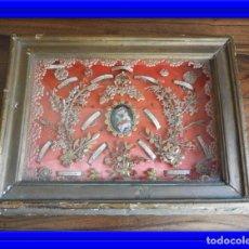 Antigüedades: ANTIGUO RELICARIO CON VARIAS RELIQUIAS S. JUAN DE LA CRUZ, S. ANTONIO, STA TERESA.... Lote 186083663