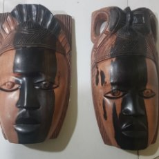 Antigüedades: PAREJA DE MASCARAS AFRICANAS MADERA. Lote 186096967