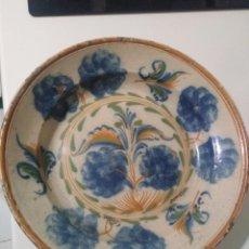 Antigüedades: RIBESALBES, ABSOLUTAMENTE ESPECTACULAR PLATO HONDO SÍGLO XVIII 34 CM DIÁMETRO. Lote 186104168