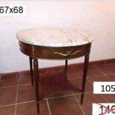 Antigüedades: MESA REDONDA TAPA DE MÁRMOL. Lote 121615207