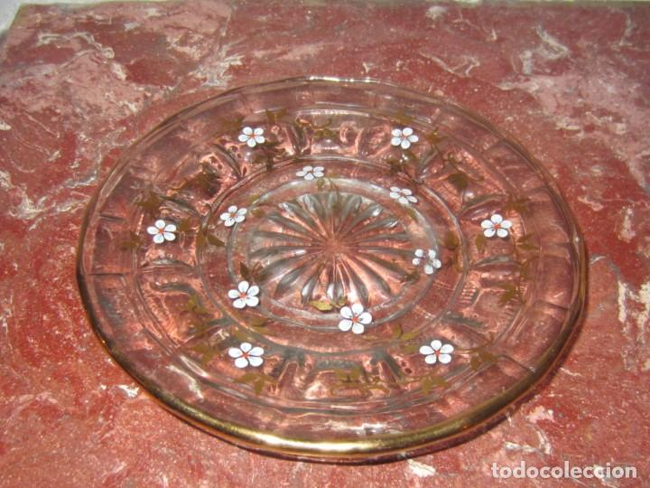 PLATO VIDRIO SOPLADO FILO DE ORO. (Antigüedades - Cristal y Vidrio - Santa Lucía de Cartagena)