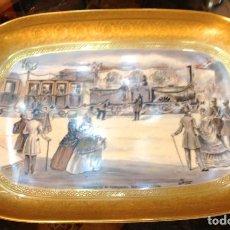 Antigüedades: FERROCARRIL BARCELONA MATARÓ CENTENARIO BANDEJA PINTADA A MANO PORCELANA ALEMANA ORO 24K. Lote 186177035
