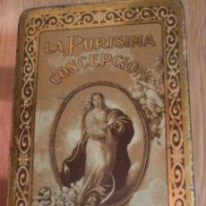 Antigüedades: ANTIGUA CAJITA CHAPA CALIGRAFIADA VIRGEN LA PURISIMA CONSECION. Lote 186180051