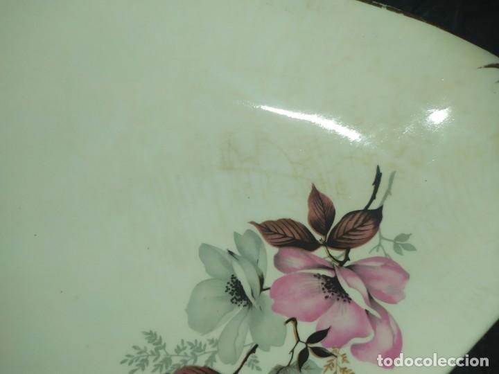 Antigüedades: ROYAL WINTON PRECIOSA BANDEJA PLATO DECORADO ORO FLORES CENTRO MESA UNICO - Foto 8 - 186180362